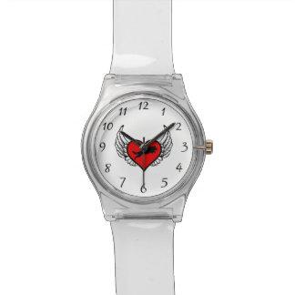 跳躍のジャーマン・シェパードの飛んだハート愛犬 腕時計