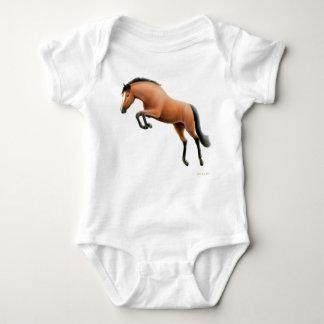 跳躍の栗毛の馬の乳児のクリーパー ベビーボディスーツ