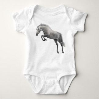 跳躍の灰色の馬の乳児のクリーパー ベビーボディスーツ