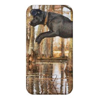 跳躍の黒いレトリーバー iPhone 4 カバー