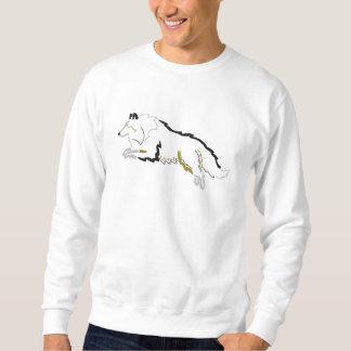跳躍三色のシェットランド・シープドッグによって刺繍されるスエットシャツ 刺繍入りスウェットシャツ