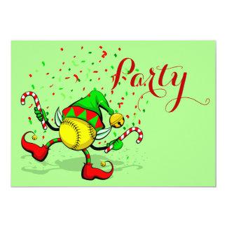 踊りのソフトボールのクリスマスの小妖精や小人 12.7 X 17.8 インビテーションカード