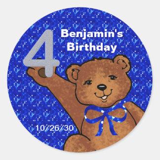 踊りのテディー・ベアの第4誕生日のスクラップブックのステッカー ラウンドシール