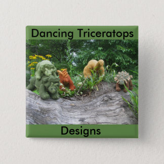 踊りのトリケラトプスはピンボタンを設計します 5.1CM 正方形バッジ
