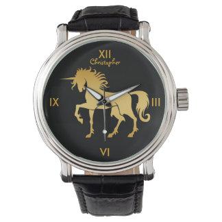踊りのユニコーンのシルエットの腕時計 腕時計