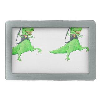 踊りの恐竜 長方形ベルトバックル