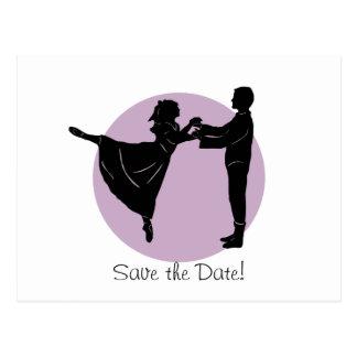 踊りの新郎新婦は日付を救います ポストカード