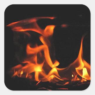 踊りの火のステッカー スクエアシール