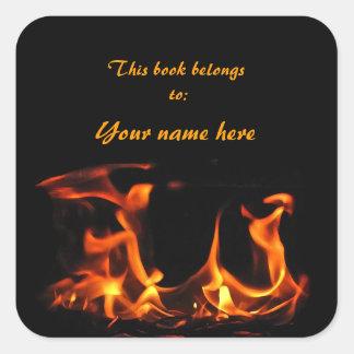 踊りの火の蔵書票 スクエアシール