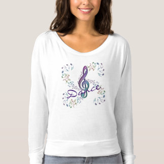 踊りの虹音楽ノートのダンスのワイシャツ Tシャツ