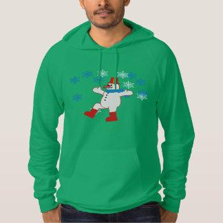 踊りの雪だるまの挨拶のクリスマスの冬のフード付きスウェットシャツ パーカ