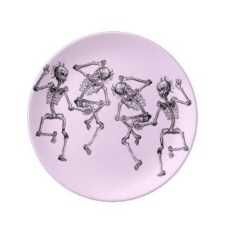 踊りの骨組ぼろぼろのグラフィックアート 磁器プレート