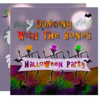 踊りはハローウィンパーティの招待状の骨を抜きます カード