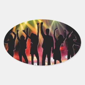 踊ること|80年代|ダンス|床|レトロ 卵形シールステッカー