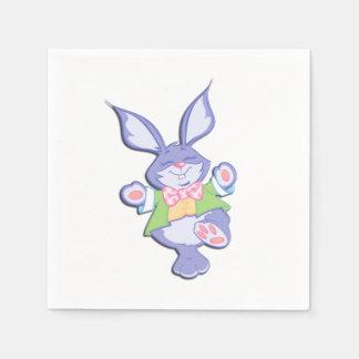 踊る紫色のイースターのウサギ スタンダードカクテルナプキン