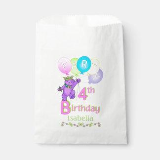 踊る紫色のプリンセスくまの第4誕生日 フェイバーバッグ