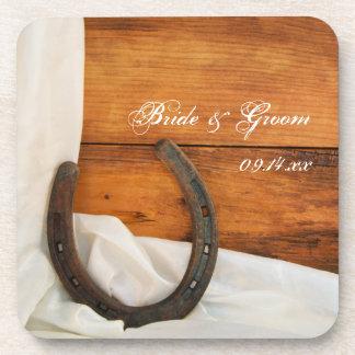 蹄鉄およびサテンの国の納屋の結婚式 ドリンクコースター