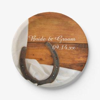 蹄鉄およびサテンの国の納屋の結婚式 ペーパープレート