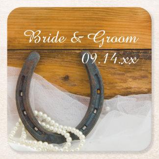 蹄鉄および真珠の国の西部の結婚式 スクエアペーパーコースター