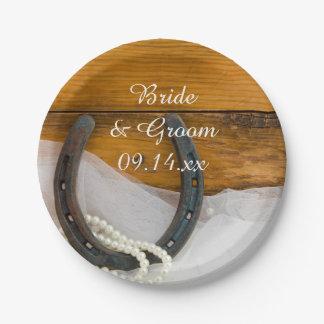 蹄鉄および真珠の国の西部の結婚式 ペーパープレート
