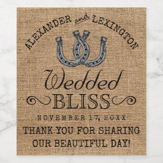 蹄鉄のバーラップの一見の素朴な国の結婚式 ワインラベル