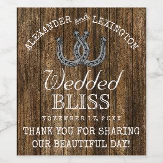蹄鉄の納屋の木製の素朴な国牧場結婚式 ワインラベル