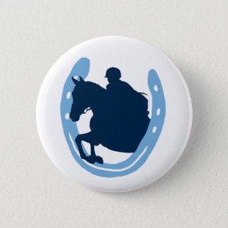 蹄鉄の跳躍の馬ボタン 5.7CM 丸型バッジ