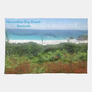 蹄鉄湾のビーチ、バミューダ島 キッチンタオル