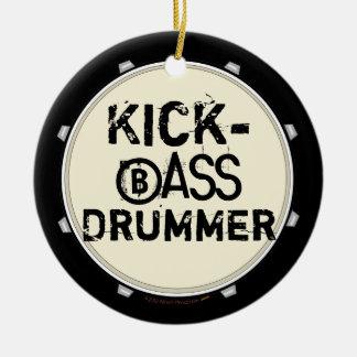 蹴りの低音のドラマーのおもしろいなバスドラムのオーナメント セラミックオーナメント
