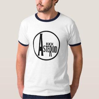 蹴りの小惑星-黒及び青 Tシャツ