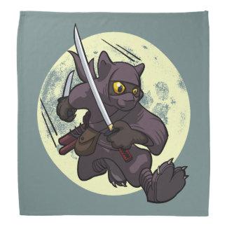 蹴りの漫画を飛ばす黒猫の忍者のKatanaの剣 バンダナ