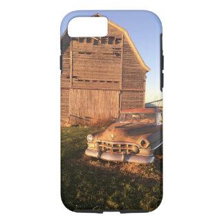 車のキャデラックの素朴な古い納屋の実質の写真のiPhone 7 iPhone 8/7ケース