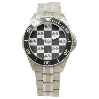 車のモータースポーツファンの腕時計のクラシックな勝者の旗 腕時計