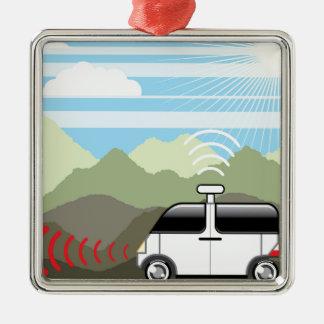 車の自己運転。 Driverless車 メタルオーナメント