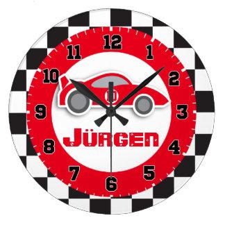 車の赤いチェック模様の旗の名前の柱時計をからかいます ラージ壁時計