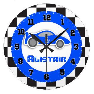 車の青いチェック模様の旗の名前の柱時計をからかいます ラージ壁時計