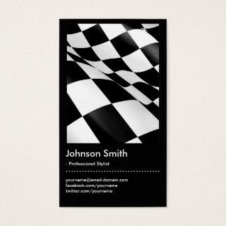 車の-白黒の格子縞のチェック模様の旗 名刺