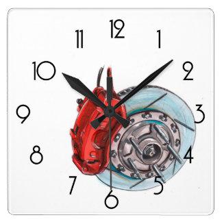 車ブレーキディスク自動スケッチされた芸術の白い柱時計 スクエア壁時計