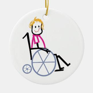 車椅子の子供 セラミックオーナメント