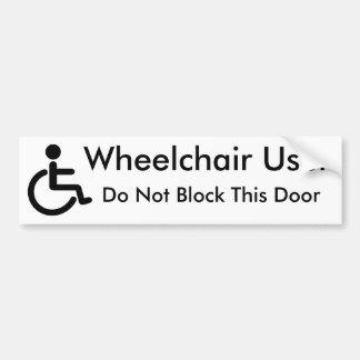 車椅子利用者-ドアを妨げないで下さい バンパーステッカー
