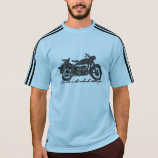 車輪があなたまたはモーターサイクリストをどこに取るか行って下さい Tシャツ