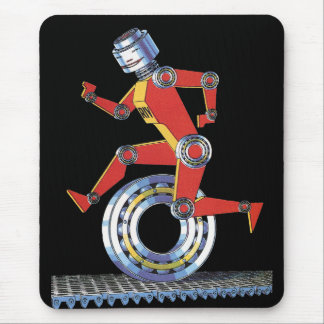 車輪とのヴィンテージの空想科学小説のロボットランニング マウスパッド