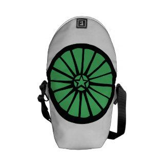 車輪のバックパックの緑 メッセンジャーバッグ