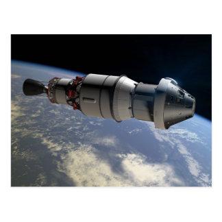 軌道のオリオンのカプセルそしてデルタIVの上部ステージ ポストカード