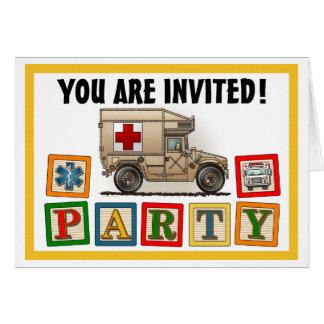 軍のハンマーの救急車のパーティの招待状 カード