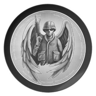 軍の兵士の天使のデザイン プレート