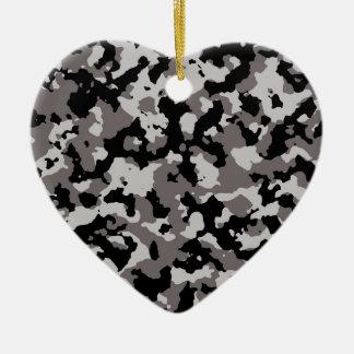 軍の灰色のカムフラージュパターン 陶器製ハート型オーナメント