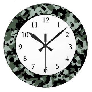 軍の緑のカムフラージュパターン ウォールクロック