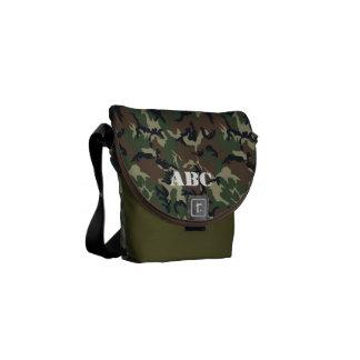 軍の緑のカムフラージュパターン メッセンジャーバッグ