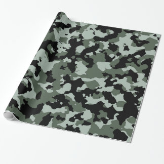 軍の緑のカムフラージュパターン ラッピングペーパー